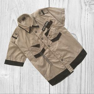 Other - Button Down Shirt Short Sleeve Size 7 Black Beige